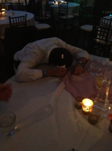 Reception drunk guy passed out at table
