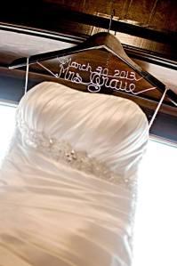 Brides dress w custom hanger