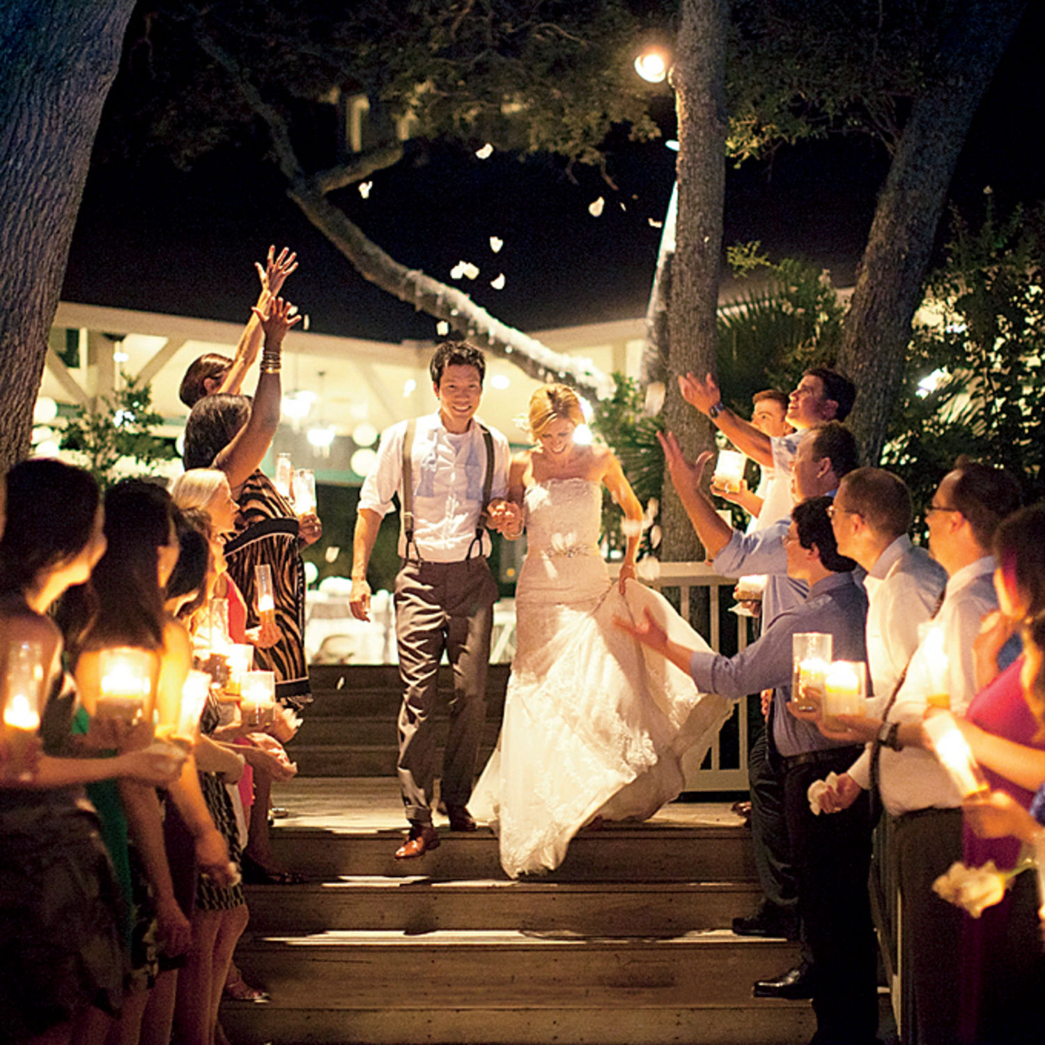7 awesome ways to exit your wedding wedding send off ideas Photo Courtesy glamour com